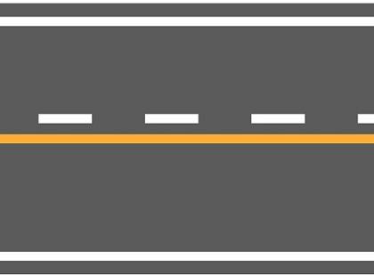 黄色実線+白色破線の組み合わせ